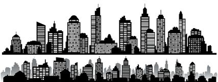 Vector set of black horizontal night cityscapes. Vector city silhouettes, element for design banners,web design, architectural backgrounds stock illustration