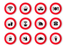 Vector set of black icons with food. Vector set of black icons with food Royalty Free Stock Photos