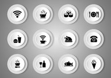 Vector set of black icons with food. Vector illustration Royalty Free Stock Photos