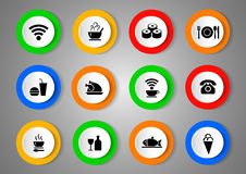 Vector set of black icons with food. Vector illustration Stock Photography