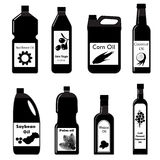 Vector set black icons of oil for frying Stock Images