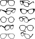 Vector set black illustration of sunglasses frames. Vector set line illustration of sunglasses frames Royalty Free Stock Images