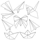 Vector Set of Black Line Art Origami Shapes Royalty Free Stock Photo