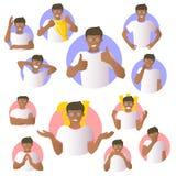Vector set of black man emotional expressions, flat gradient design icons royalty free illustration