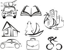 Vector set of black  objects depicting an activity, recreation and leisure Stock Images