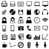 Vector set of black office icons Royalty Free Stock Photo