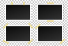 Vector set of black photo frames with various shadows. Royalty Free Stock Image