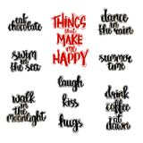 Hand drawn lettering of things that make happy. Vector set of black and red hand written lettering with things that make happy Stock Photos