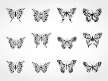 Vector set of black silhouettes butterflies Royalty Free Stock Photos