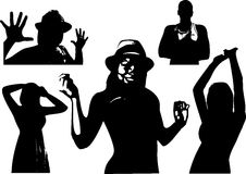 Vector set of black silhouettes of a girl and men are waist-deep in various poses Royalty Free Stock Image