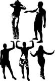 Vector set of black silhouettes of girls and mans in various poses, standing at full height on a white background Royalty Free Stock Photography