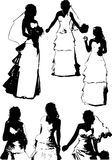 Vector set of black silhouettes of a young girl with beautiful hairstyle Stock Photos