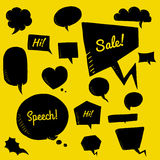 Vector set of black speech bubbles, group of doodle speech buble Royalty Free Stock Photo