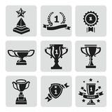 Vector set of black trophy and awards icons Stock Image