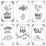 Vector set of black vintage frames isolated on white background. Stock Images