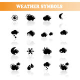 Vector set of black weather symbols Royalty Free Stock Photo
