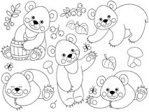 Vector Set of Cute Cartoon Forest Bears. Vector set of black and white cute cartoon forest bears. Vector woodland bears, mushrooms, leaves, nuts and berries Royalty Free Stock Photos