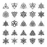 Vector set of black and white decorative patterns for design. Triangle symmetric symbols Royalty Free Stock Image
