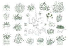 Vector set of black and white garden tools vector illustration