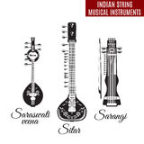 Vector set of black and white indian string musical instruments, flat style. Vector set of black and white indian bowed and plucked string musical instruments Stock Photography