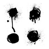 Vector set of black and white ink splash, blots and brush strokes, isolated on the white background. Series of  splash, blot Stock Image