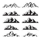 Vector set of black and white mountain silhouette Stock Photos