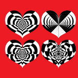 Vector set of black and white optical illusion hearts on red background Stock Images
