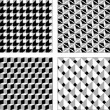 Vector set black and white optical illusions. Seamless texture. Royalty Free Stock Image