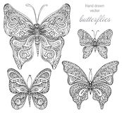 Vector set of black and white ornamental  butterflies isolated o Stock Photo