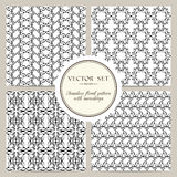 Vector set of black and white seamless floral pattern with snowdrops. Set of black and white seamless floral pattern with snowdrops. Vector background Stock Image