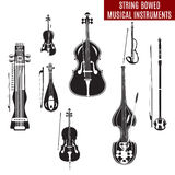 Vector set of black and white string bowed musical instruments in flat design. Classical and electric violin, double bass, erhu, rebec, cello, sarangi  on Stock Photos