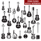 Vector set of black and white string plucked musical instruments in flat design Stock Image