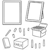 Vector set of blackboard and chalk. Hand drawn cartoon, doodle illustration vector illustration