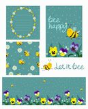 Set of blank, flyer, seamless texture, card with bees and flowers of turquoise color. Vector set stock illustration