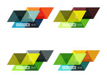 Vector set of blank geometric infographic web boxes. Created with triangles. Backgrounds for workflow layout, diagram, number options or web design Royalty Free Stock Photography