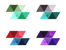Vector set of blank geometric infographic web boxes. Created with triangles. Backgrounds for workflow layout, diagram, number options or web design Stock Photos