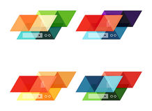 Vector set of blank geometric infographic web boxes. Created with triangles. Backgrounds for workflow layout, diagram, number options or web design Royalty Free Stock Images