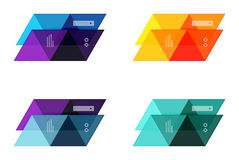 Vector set of blank geometric infographic web boxes. Created with triangles. Backgrounds for workflow layout, diagram, number options or web design Royalty Free Stock Photo
