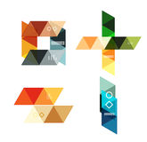 Vector set of blank geometric infographic web boxes. Created with triangles. Backgrounds for workflow layout, diagram, number options or web design Royalty Free Stock Photos