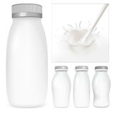 Vector set of blank milk and yoghurt packs. Milky splash Royalty Free Stock Photos