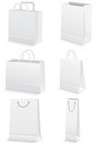 Vector set of blank paper shopping bags. Royalty Free Stock Image
