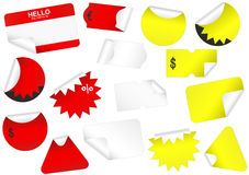 Vector set of blank retail tags with peeled edges. Stock Photography