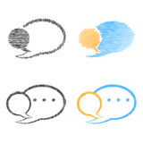 Vector set of blank speech bubbles blue. Orange and black color Royalty Free Stock Photo