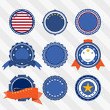 Vector set of blank vintage labels with stars and ribbons in blue, red and white colors. Royalty Free Stock Photo