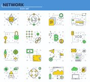 Vector set of blockchain technology and cryptocurrency icons in thin line style. Bitcoin, ethereum, ICO. Website UI and. Mobile web app icon. Outline design vector illustration