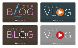 Vector set of blog and vlog icons Stock Photography