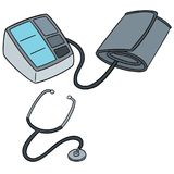 Vector set of blood pressure monitor and stethoscope. Hand drawn cartoon, doodle illustration Stock Image