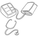 Vector set of blood pressure monitor and stethoscope. Hand drawn cartoon, doodle illustration Royalty Free Stock Image