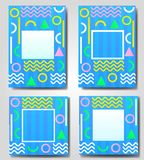 Vector set of blue abstract geometric, retro,memphis frame,banner,greeting card of different colors with colored shapes Stock Photo