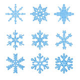 Vector Set of Blue Cartoon Snowflakes Royalty Free Stock Image